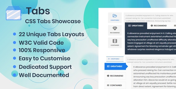 Tabs - CSS Showcase by xgenious | CodeCanyon