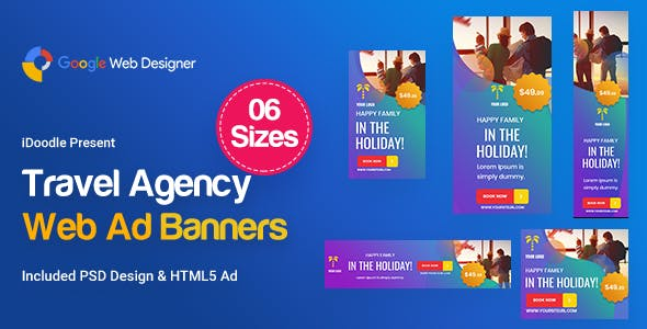 Travel Agency Banners Ad D57 - Google Web Design