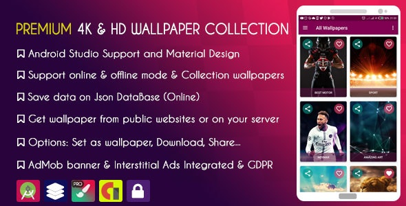 PREMIUM 4K & HD Wallpapers Collection - AdMob + GDPR - CodeCanyon Item for Sale