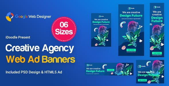 Creative, Startup Agency Banners HTML5 Ad D62 - GWD & PSD