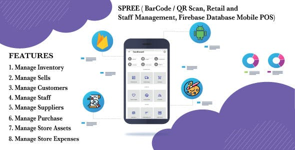 SPREE ( BarCode / QR Scan, Retail and Staff Management, Firebase Database Mobile POS)