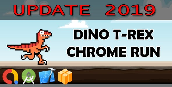 DINO T-REX CHROME RUN - Buildbox + iOS Xcode 10 + Android Studio + Admob + GDPR + API 27 + Eclipse