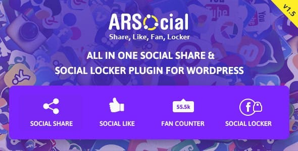 ARSocial - Social Share Buttons & Social Locker Plugin