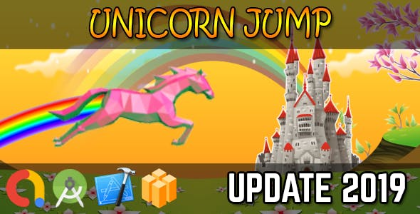 UNICORN JUMP - Buildbox + iOS Xcode 10 + Android Studio + Admob + GDPR + API 27 + Eclipse