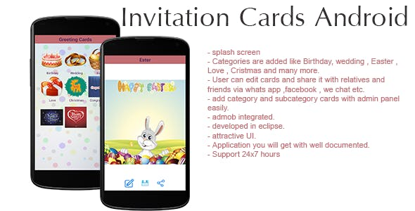 Invitation Cards Android Application - Admin Panel + Admob
