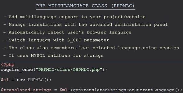 PHP Multilanguage Class (PHPMLC)