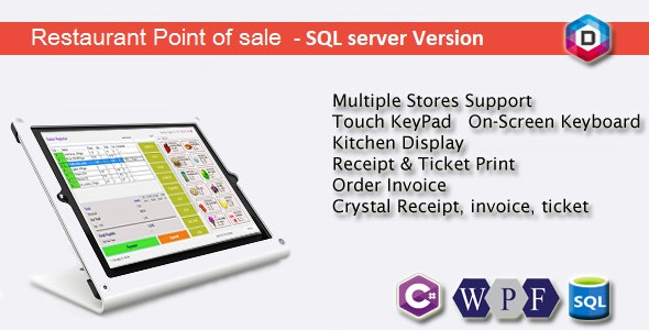 Restaurant Point of Sale - Rest POS - C# WPF SQL by