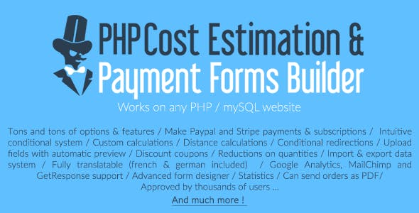 PHP Cost Estimation & Payment Forms Builder