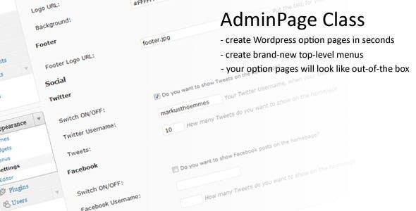 Wordpress AdminPage Class