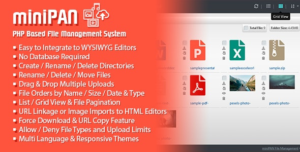 miniPAN PHP File Management System - CodeCanyon Item for Sale