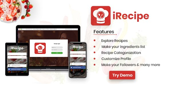 iRecipe - Ultimate Recipe App Template with adminpanel | Ionic 3 | AngularJS