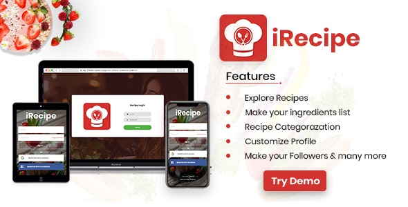 iRecipe - Ultimate Recipe App Template with adminpanel | Ionic 3 | AngularJS - CodeCanyon Item for Sale