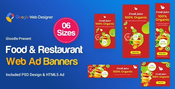 Food & Restaurant Banners HTML5 Ad D80 - GWD & PSD - CodeCanyon Item for Sale