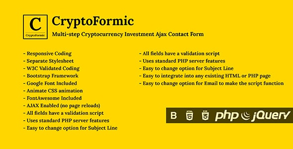 CryptoFormic - Ajax Based Responsive Cryptocurrency Investment Form - CodeCanyon Item for Sale