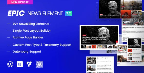 Epic News Elements - News Magazine Blog Element & Blog Add Ons for