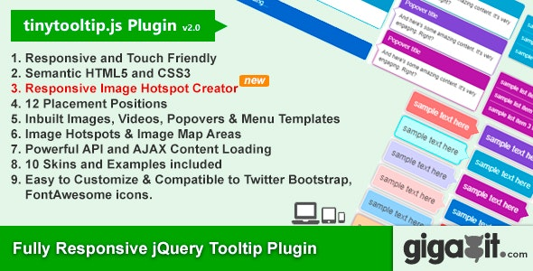 Tinytooltip js - Responsive jQuery Tooltip Plugin by gigagit