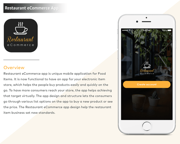iPhone Restaurant eCommerce Mobile App - CodeCanyon Item for Sale