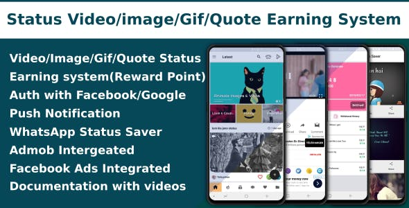 Video/Image/Gif/Quote App With Earning system (Reward points) - CodeCanyon Item for Sale