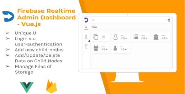 Firebase Realtime Admin Dashboard - Vue js by alpeshrajodiya