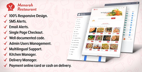 Menorah Restaurant - Restaurant Food Ordering System - CodeCanyon Item for Sale