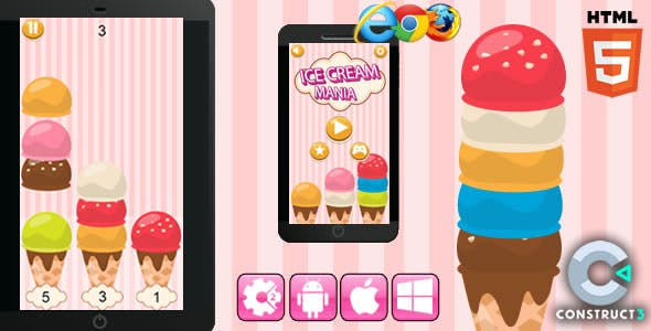 Ice Cream Mania - Html5 Game (Capx)