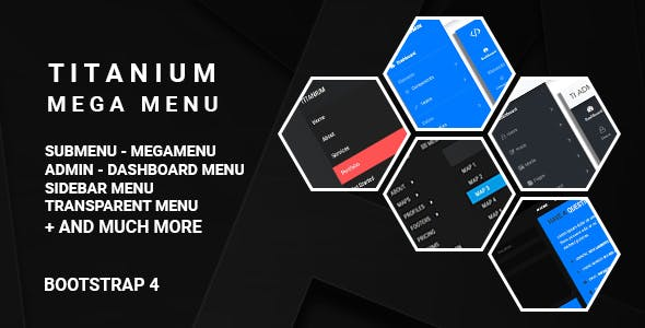 Titanium Mega Menu - Bootstrap 4