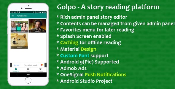 Golpo - A story template with admob and push notifications