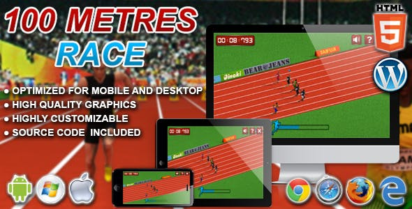 100 Metres Race - HTML5 Sport Game