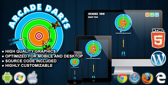 Arcade Darts - HTML5 Skill Game