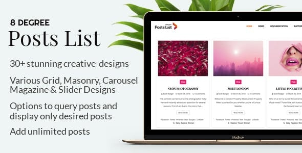 Eight Degree Posts List Pro - Easy-To-Use Posts Listing Plugin For WordPress - CodeCanyon Item for Sale