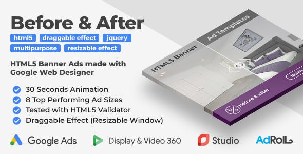 Before & After - Multipurpose Animated HTML5 Banner Ad Templates (GWD)