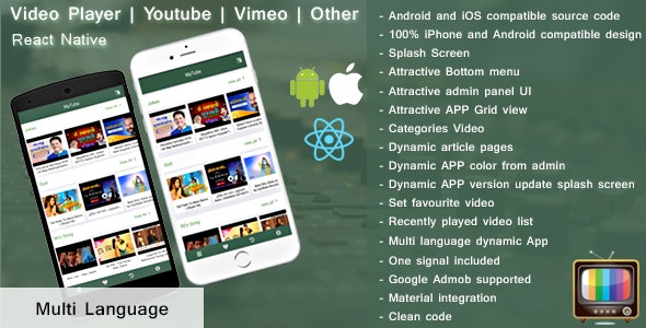 Android TV | Video player | Live TV | React Native by