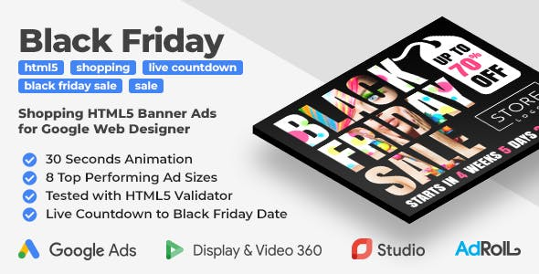 Black Friday Sale - Shopping HTML5 Banners with Live Countdown (GWD)