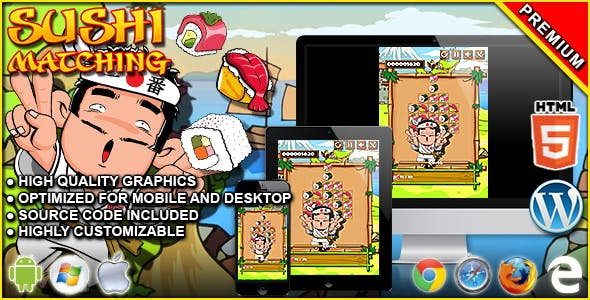 Sushi Matching - HTML5 Matching Game