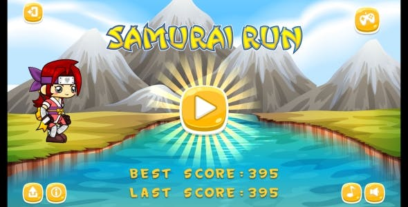 Samurai Run - HTML5 Game + Android (Construct 3 | Construct 2 | Capx)