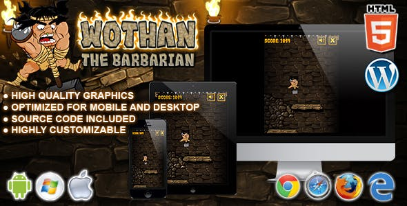 Wothan The Barbarian - HTML5 Arcade Game