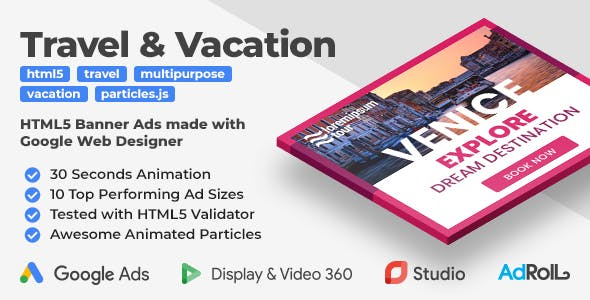 Travel & Vacation Animated HTML5 Banner Templates (GWD)