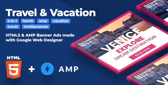 Travel & Vacation (2-in-1) HTML5 & AMPHTML Animated Banners (GWD)