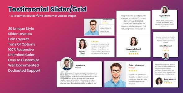 Testimonials Slider / Grid - Elementor Addon Testimonials Plugin - CodeCanyon Item for Sale