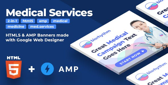 Biorhythm (2-in-1) - HTML5 & AMP Medical Services Animated Banners (GWD)