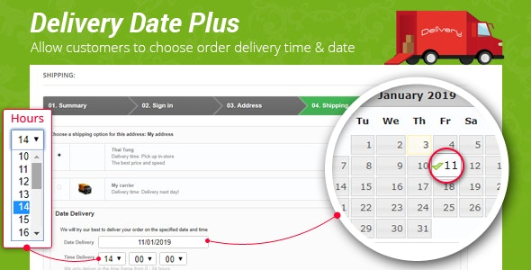 Delivery Date Plus – Allow to Choose Order Delivery Time & Date - Prestips - CodeCanyon Item for Sale
