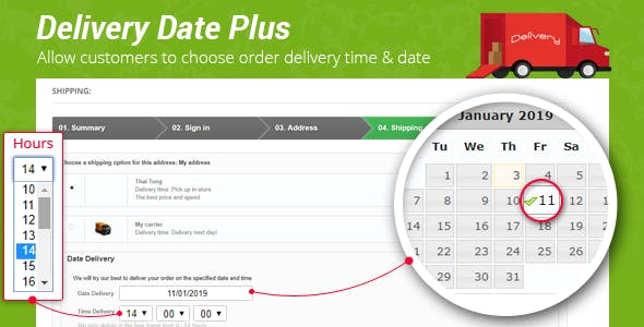Delivery Date Plus – Allow to Choose Order Delivery Time & Date - Prestips