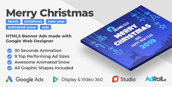 Merry Christmas and Happy New Year Animated HTML5 Banners (GWD)