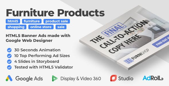 Furniture Products - Animated HTML5 Banner Ad Templates (GWD)