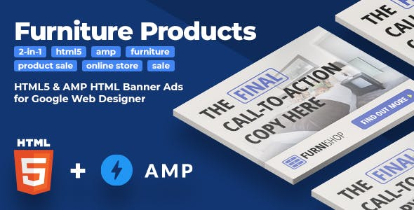 Furniture Products (2-in-1) - HTML5 & AMP Animated Banners (GWD)