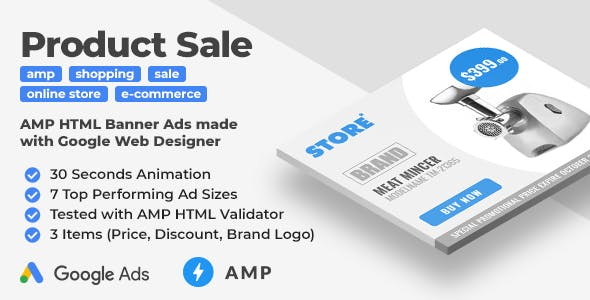 Store - Product Sale Animated AMP HTML Banner Ad Templates (GWD, AMPHTML)