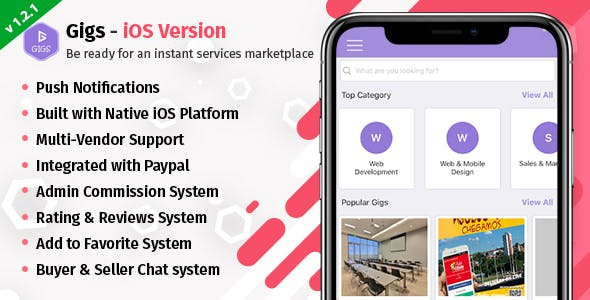 Gigs (Services Marketplace) - Native iOS App | Fiverr Clone