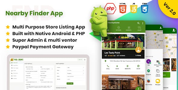 FND | Nearby Finder - Web (Super & Vendor Admin panel) + Native Android App - CodeCanyon Item for Sale