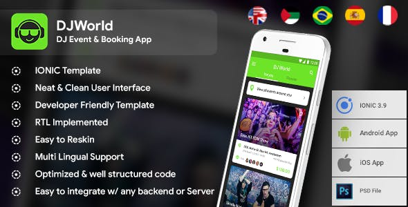 DJ events Booking Android + iOS App Template | HTML + Css IONIC 3 | DJWorld