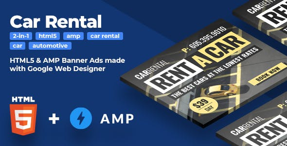 Car Rental (2-in-1) - HTML5 & AMP HTML Animated Banners (GWD)